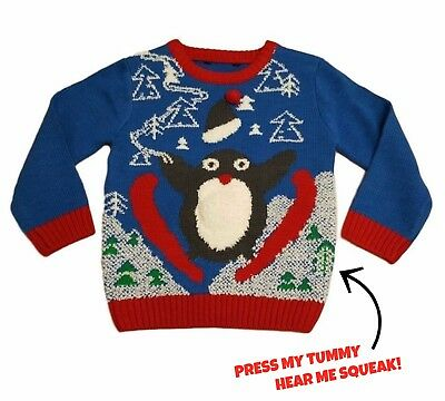 Kids Boys Xmas Christmas Jumper SQUEAK Baby Sweater Novelty Vintage Penguin Knit