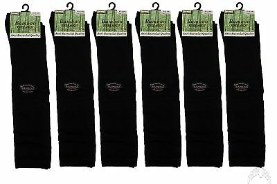 Lot Of 6 Pair Bamboo Knee High Women's Socks Antibacterial Black Size 9-11 NEW