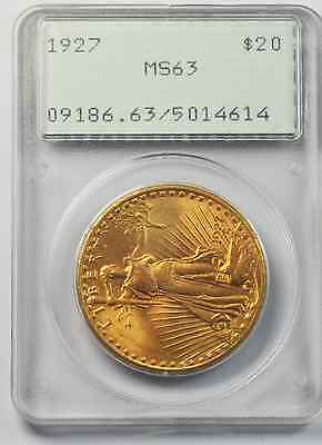 1927 $20 Twenty Dollars St Gaudens Gold Double Eagle PCGS MS63 Old Rattler