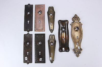 Eight (8) Antique Metal Door Faceplates Hardwre 3 Matching Pairs & 2 Singles