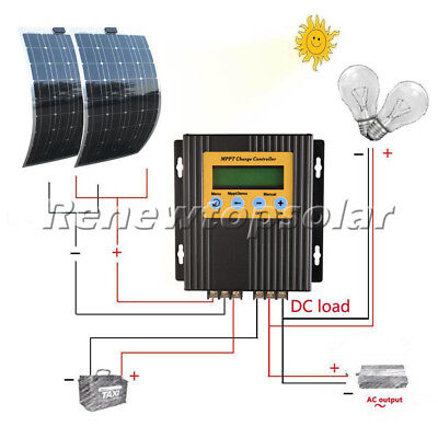 200W Mono Flexible Solar Panel Kit W/ 20A MPPT Controller for 12V Battery Charge