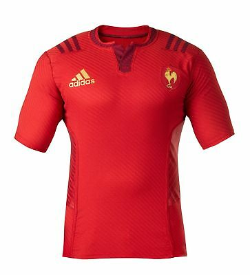 adidas Men's France 2015-6 Away Rugby Union Jersey Les Bleus Shirt Top Kit Red