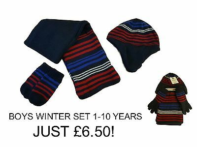 Boys Kids Hat Gloves Scarf Set Mitts Mittens Matching Winter 1-10 Years