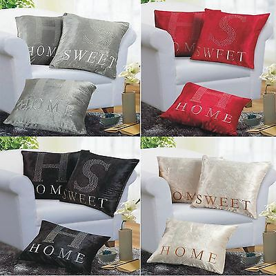 """3 pack Cushion Cover Home Sweet Home Design 17 X 17"""" Diamante Detail Covers"""