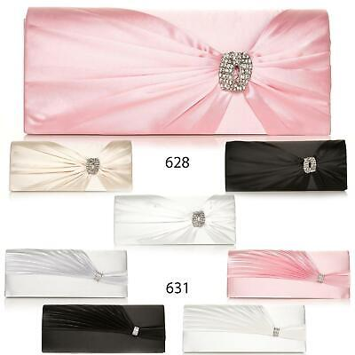 Womens Clutch Bag Satin Colours Creased Pinned Diamante Bridal Occasion