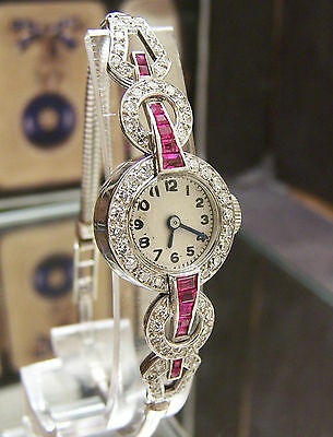 Antique Vintage 40's Gorgeous Solid Platinum 56 Diamond & Ruby Watch ~Serviced~