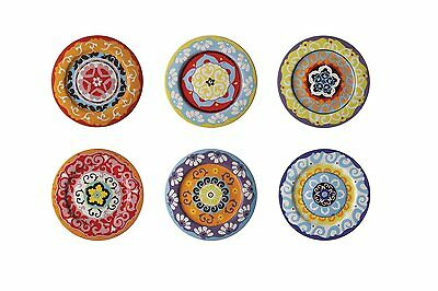 Nador Set of 6 Dinner Plates 27cm Mixed Coolours Mediterranean Style Plates