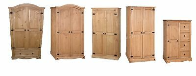Corona 2 Door Wardrobes Solid Mexican Pine Bedroom Set by Mercers Furniture®