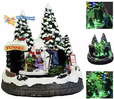 Resin Battery Operated Christmas Decoration Light Up Scene Moving Train Camera