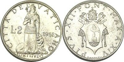 elf Vatican City 2 Lire 1952 Pius XII  Fortitude and Lion