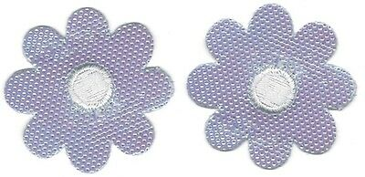 "1 1/4"" Lot of 2 Iridescent Shiny Purple Embroidery Flower Patch"