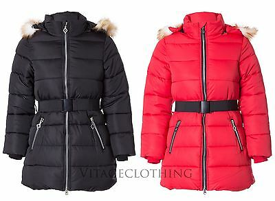 Girls Kids Quilted Padded Fur Collar Hooded Belted Winter Coat Puffer Jacket