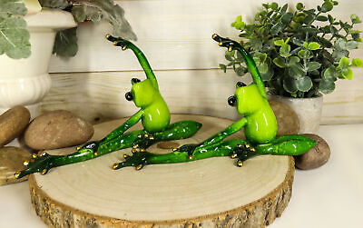 Active Yoga Frog Couple Stretching Warm Up Routine Decorative Figurine Set of 2