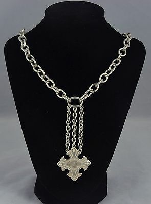 RARE Harley Davidson Sterling Silver Heavy Cable Link Chain Cross Necklace