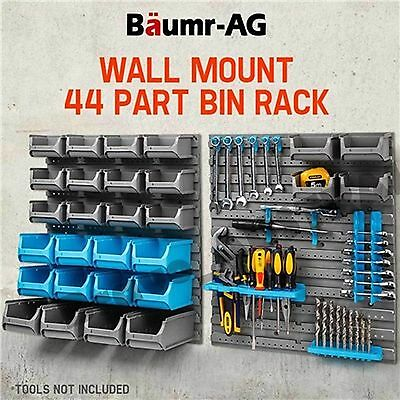 Workshop Small Parts Storage Bins Organiser Box Wall Mounted Shed Trays Rack