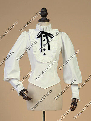 Victorian Ghost Steampunk Edwardian White Gothic Blouse Halloween Shirt B187