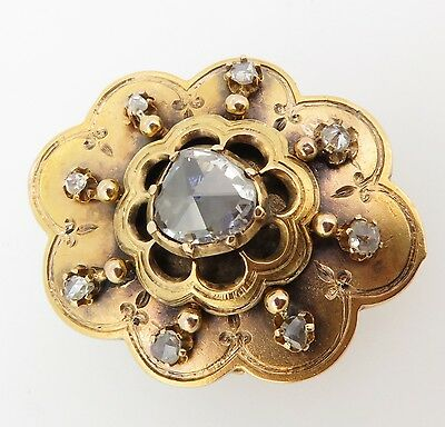 Antique 15Ct Huge Rose Cut Diamond H Si Mourning Brooch Val $4900