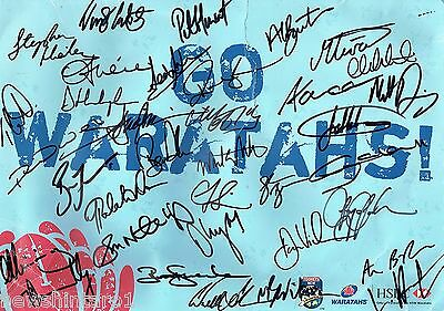 #t105.  Signed  Nsw  Waratahs Rugby  Union  Hand  Poster