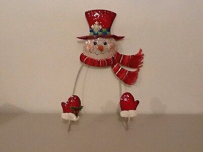 Holiday Christmas Painted Metal Snowman Wreath Hanger Home Interiors Gifts GTC