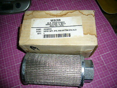 "SUCTION STRAINER, Vescor SS-10-RV3, SS10RV3, 10GPM, 1"" NPT, 3 PSI, NEW!!"