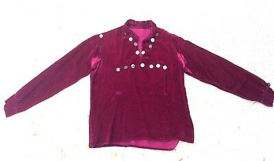 Vintage Navajo Velvet Shirt with Silver Dimes Traditional RARE *SS75