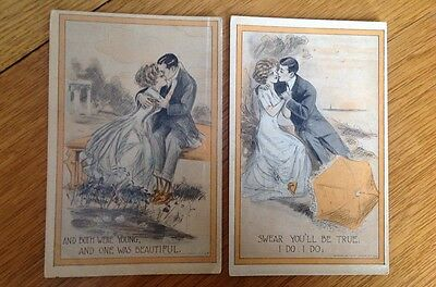 PAIR of VICTORIAN ERA COURTING COUPLE POSTCARDS