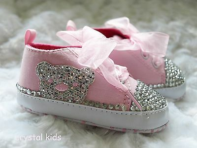 ** SALE ** Baby Girls Pink Teddy Bear Shoes Baby Shoes Crib Shoes 6-12 mths