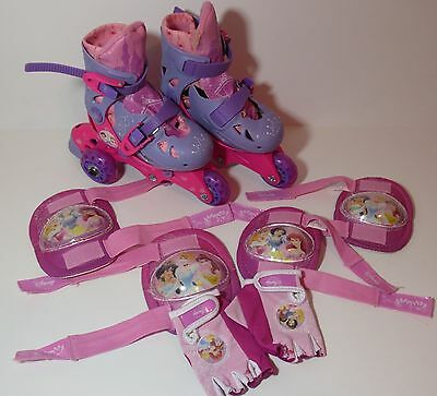 Disney Princess Size J6-J9 Trainer Inline Roller Skates Knee Elbow Pads Gloves