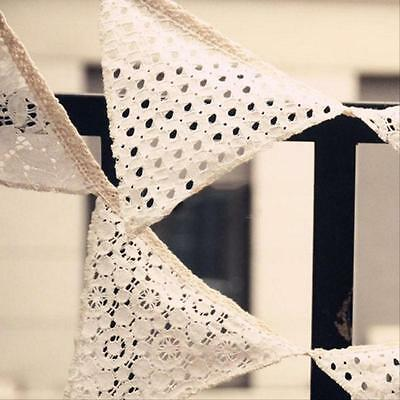 2.5M Cotton White Lace Flag Banner Bunting Pennant Wedding Birthday Party Decor