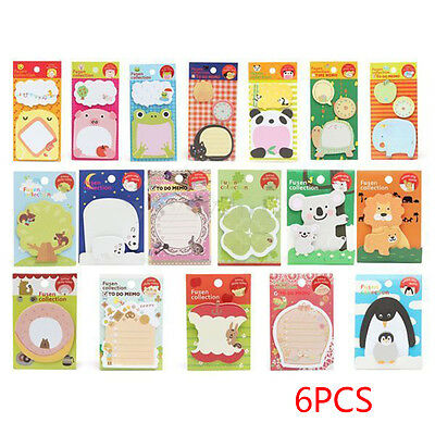 6Pcs/set Cute Animals Sticker Post-It Bookmark Marker Memo Flags Sticky Notes