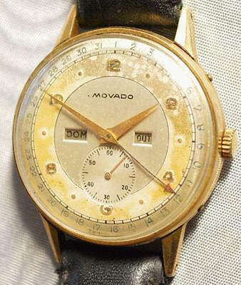 MOVADO 475 Vintage TRIPLE CALENDAR GOLD PLATED WATCH Ø36MM