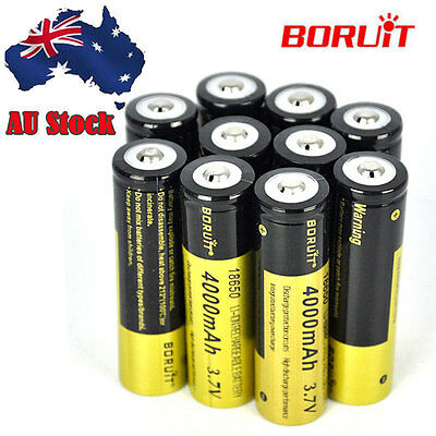 Genuine 10x 18650 Rechargeable 4000mAh Li-ion Battery 3.7V for headlamp torch