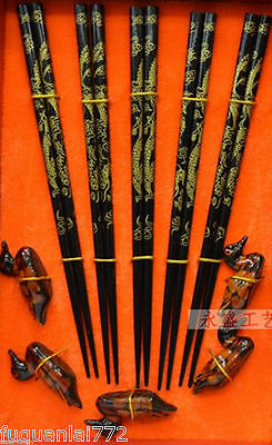 Traditional Chinese Culture East Wood chopsticks set with Dragon Free gift duck