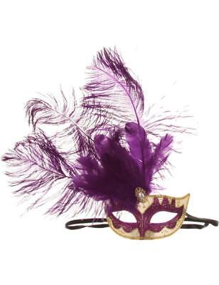 Purple Venetian Mask - Masquerade Ball Can Can Beauty Eyemask with Feather