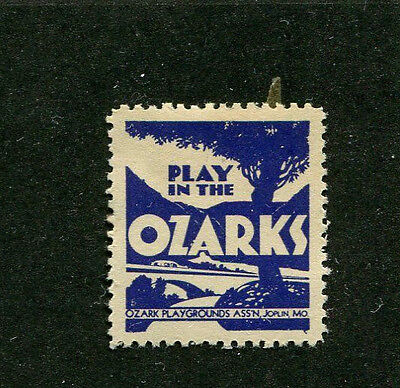 Poster Stamp Label PLAY IN THE OZARKS Ozark Playgrounds Assoc Joplin MO