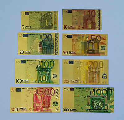 COLOURISED EURO SET *8 banknotes* 24k Gold Plated Banknotes (only banknotes)