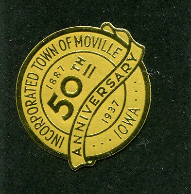 Vintage Poster Stamp Label foil 1937 TOWN OF MOVILLE IA 50th anniversary 1937