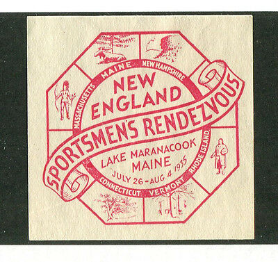 Poster Stamp Label New England SPORTSMENS RENDEZVOUS Lake Maranacook ME #IM