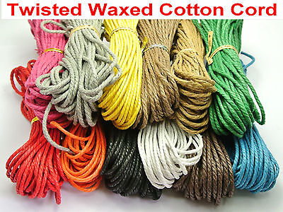 120 Meter Waxed Twisted Cotton Cord Thread Line 2mm Macrame Rope String 12 Color