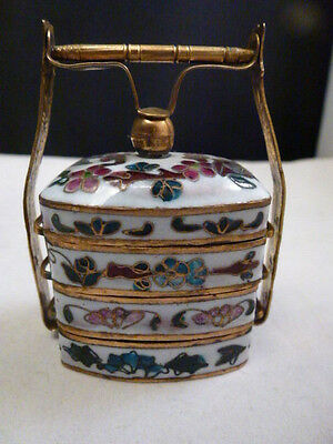 Antique Chinese Enamel Cloisonne 3 Tear Stack Spice Box 19Th Century Snuff