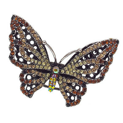 Butterfly Cocktail Stretch Finger Ring Costume Jewelry Rhinestone Brown Silver T