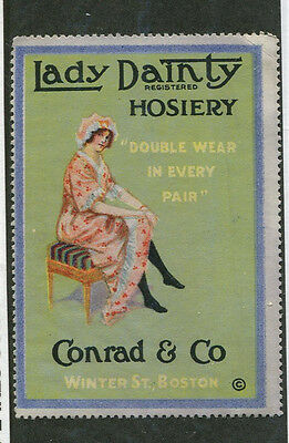 Vintage Poster Stamp Label LADY DAINTY HOSIERY Woman showing leg Stockings  #IM