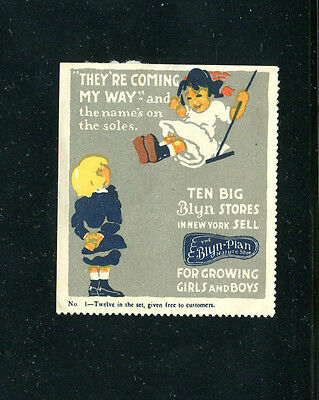 """Vintage Poster Stamp Label BLYN PLAN SHOES No 1 girl on swing """"Coming my Way"""""""