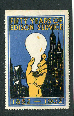 Vintage Poster Stamp Label FIFTY YEARS OF EDISON SERVICE 1932 light bulb