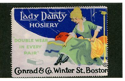 Vintage Poster Stamp Label LADY DAINTY HOSIERY Conrad & Co Boston Lady on Bed