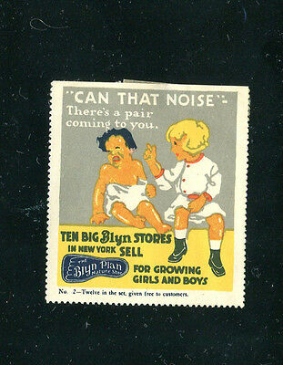 "Vintage Poster Stamp Label BLYN PLAN SHOES No 2 girl w baby ""Can that Noise"""