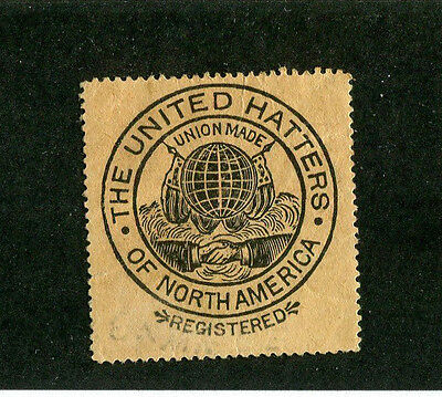 Vintage Postal Stamp Label UNITED HATTERS OF NORTH AMERICA Union Made