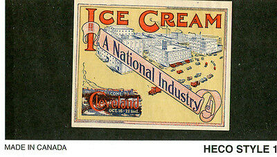 Vintage Poster Stamp Label CLEVELAND ICE CREAM Convention Factory