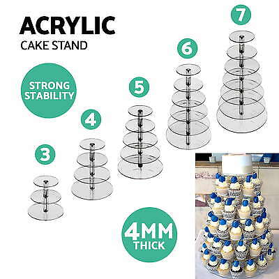 3/4/5/6/7 Tier Acrylic Round Cake Cupcake Stand Tree Tower Plate Wedding Party