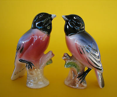 Vintage 1950's Ceramic Chickadee Japan Purple & Pink Bird Salt & Pepper Shakers